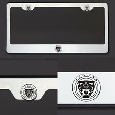 T304 Chrome New Jaguar Logo Black Laser Etched Engraved License Plate Frame Tag