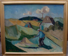 Arnold William Pedersen 1912-1986,Landschaft mit Weizenfeldern und Bauer,um 1960