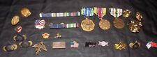 Lot Army Pins Medals Ribbon Bars Marine Screw Back