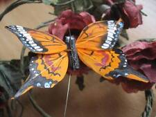 Authentic Orange Patterned Feather Butterfly - 8.0cm wingspan