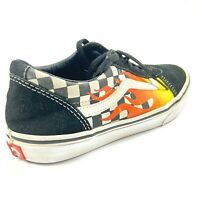 Vans Youth Size 5 Old School Lace Up Flames Shoes Black White Orange 500714