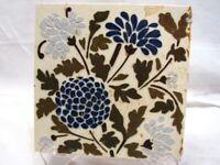 Early Majolica Glazed Ceramic Tile Art Nouveau Blue Corn Flower Floral Garden H