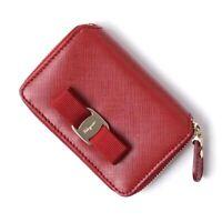 New  Salvatore Ferragamo Womens Vara Bow Zip Around Card Holder Coin Wallet Red