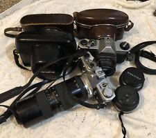 Lot Of Vintage 35mm Cameras & Lenses Pentax Nikon Olympus Minolta Untested As Is