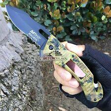 Mtech USA Leaf Camo Handle Solar Pannel LED Light Rescue Pocket Knife MT-A887CA