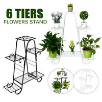3 Tier Herb Plant Stand Iron 6 Pots Flower Display Garden Patio Shelf   UK  L9