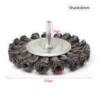 "4"" Twist Knot Wire Flat Shaped Wheels Grinding Brush With 1/4""Shank Rotary Tool"