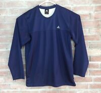 Adidas Running Shirt Mesh Mens SZ M Blue White Long Sleeve Base Layer Breathable