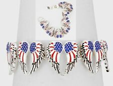 Metal Link Chain Magnetic Bracelet Silver Red Blue Wings Angel American Flag USA