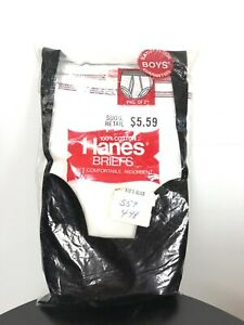 1979 3 Pack Hanes Boys Briefs sz 3 New Old Stock Vintage Cotton USA Rare!