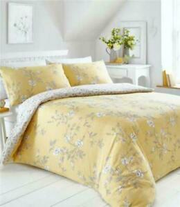 Portfolio Ochre Double Duvet floral design pretty quilt cover Yasmina bedding