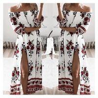Ladies Womens Maxi Off Shoulder Dress Elegant Beach Summer Split Floral Cover Up