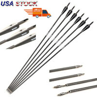 "6 Pcs 30"" Carbon Shaft Archery Arrows Tips Target Hunting Compoundbow Recurvebow"