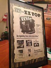 "Big 11X17 Framed Original Zz Top ""The Best Of Zz Top"" Lp Album Cd Promo Ad"