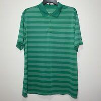 Men's Nike Golf Striped Polo Shirt Green Striped Dri Fit Size XXL 2XL