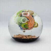 Ferro & Lazzarini Art Glass Murano Paperweight w/ Latticino Gold Fleck