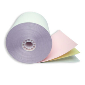 """Carbonless Paper 3PLY 3"""" x 65' White/Yellow/Pink (50 Rolls/Case)"""