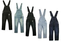 Mens New King Size Denim Dungarees Jeans in Black Mid Wash Colours Sizes 30-70