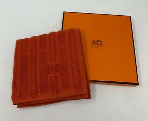 Authentic HERMES H Logo Hand Towel with Box Orange Cotton Rank AB+