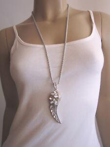 Damen Hals Kette lang Modekette Anhänger Strass Engel Flügel XL Silber Weiss