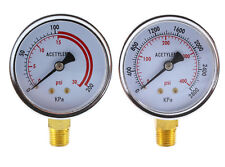 "Low and High Pressure Gauges for Acetylene Regulator - 2.5 inches 1/4""NPT (PAIR)"