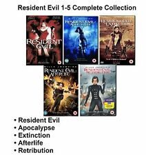 Resident Evil Movies 1-5 R2 UK DVD Apocalypse Afterlife Extinction Retribution