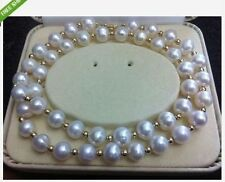 "Excellent Luster Noblest 9-10mm white south sea pearl necklace 20""14K Gold Clasp"