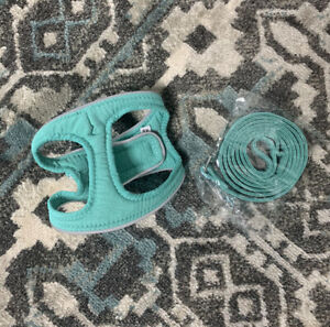 1x XS GREEN Dog Harness & Lead Set Soft Reflective Puppy Cat Walking Vest Cat