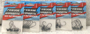 (5) ZMan 1/20oz Finesse Shroomz Ned Rig JigHead Black & Green Pumpkin 5/pack 56