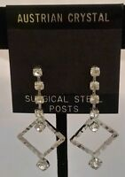 "Silver Crystal Dangle Earrings 1.5"" Austrian Bridal Formal Stocking Stuffer Gift"
