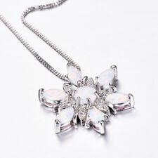 Huge Handmade Flower Rainbow White Fire Opal Gems Solid Silver Necklace Pendants