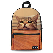 Cute Animal Cat Backpack Canvas School Bag Rucksack for Teenager Girls Boys Teen