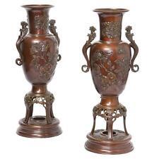 Magnificent Large Estate Pair Of Japanese Bronze Centerpiece Urns!