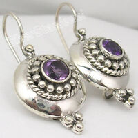 "Jewelry 925 Silver Fancy AMETHYST ETHNIC STONE Earrings 1.2"" LADIES' JEWELRY"