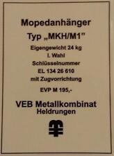 Typenschild für Simson Mopedanhänger / Transporthänger MKH/M1 , Typenaufkleber