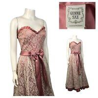 1980s Gunne Sax Dress / Pink Strapless Floral Lace Fit & Flare Dress / Medium