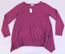 Jaclyn Smith Women's Boatneck Sharkbite Sweater SD8 Purple Large NWT