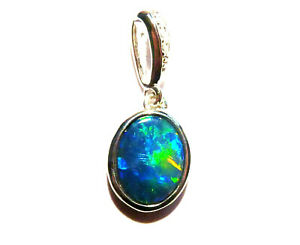 Vibrant Quality Australian Opal and Sterling Silver Charm Pendant (3386)