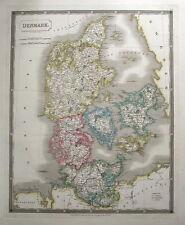 Le Danemark Sidney Hall Grand originale main couleur antique map 1828