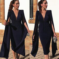 Women Flare Long Sleeve Midi Pencil Dress Bodycon Casual Cocktail Clubwear Party