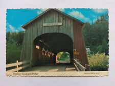Oregon Vintage colour Postcard c1970s Chitwood Covered Bridge nr Newport
