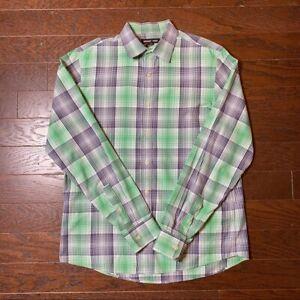 Michael Kors Blue & Green Plaid Casual Cotton Men's Button Down Shirt - Med