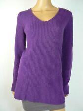 $278 Eileen Fisher Plum Purple Vneck Yak Merino Wool ALine Sweater 8 10 NWT E533