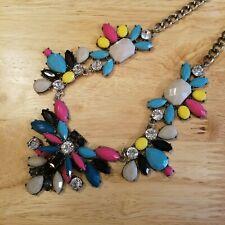 Colorful Rhinestone Bib Necklace, 16 inch statement necklace