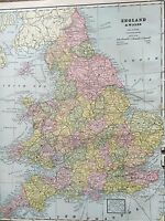 Antique COLOR MAP of England & Wales-circa 1893