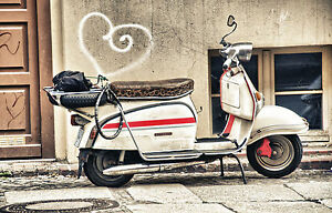 SUPERB RETRO WHITE ITALIAN SCOOTER CANVAS #559 MODS SCOOTER PICTURE WALL ART