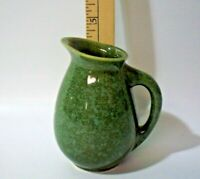 "Vintage Art Pottery ""USA 90-8"" Green Mottled Glazed Pitcher/Creamer, 4.5"" Tall"