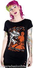 """77413 Black & Orange """"Psycho Shockers"""" Girls in Bikinis T-Shirt Sourpuss Small S"""