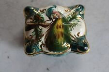 H Bequet Quaregnon Belgium Trinket Box Peacock Blue Gold Vanity Decor