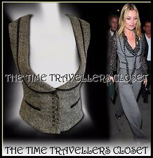 Kate Moss Topshop Grey Wool Thick Salt/Pepper Tweed Lined Waistcoat Fitted UK 10